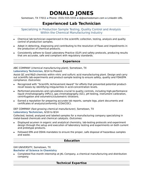 midlevel lab technician resume sle
