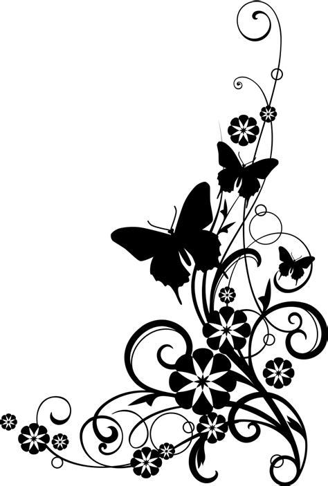 black  white flower border  clipartioncom