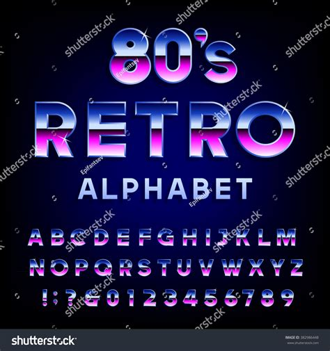 flyers numbers 80s retro alphabet font metallic effect stock vector