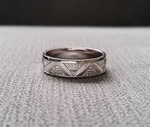 Art deco mens wedding band ring pattern antique unique for Mens art deco wedding ring