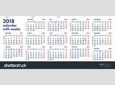 2018 Calendar With Week Number Calendar Template Printable