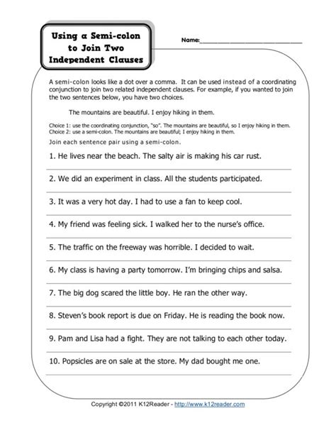 semi colon worksheets free worksheets library