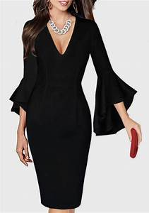 Eng Anliegende Kleider : schwarz r schen tiefer v ausschnitt langarm mit trompeten rmeln elegantes enge midikleid b ro ~ Frokenaadalensverden.com Haus und Dekorationen