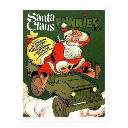 christmas jeep card santa claus drive military jeep vintage holiday postcard
