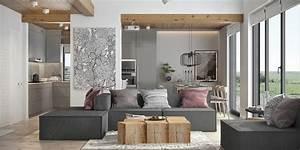 Salon Gris Et Bois : du gris du bois et des notes de rose dans un int rieur ~ Melissatoandfro.com Idées de Décoration