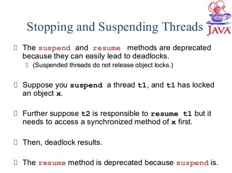 how to suspend and resume threads in java programming