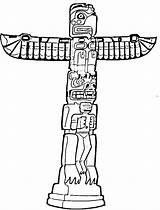 Totem Pole Coloring Printable Native Sheets Poles Tiki Outline Clipart Mask Alaska Template Drawing Aboriginal Craft Symbols Totems Sketch Printables sketch template