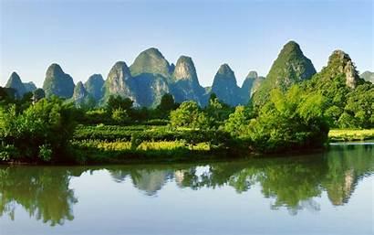 China Guilin Water River Yangshuo Landscape Mountains