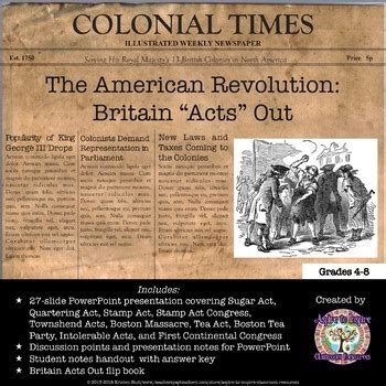 revolutionary war newspaper template american revolution great britain quot acts quot out powerpoint tpt