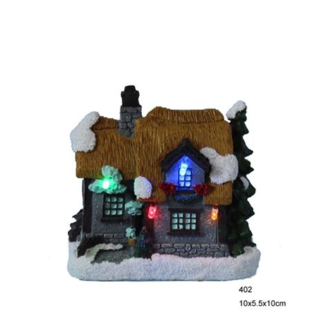 4 Quot Polyresin Christmas Decoration House With Led Christmas