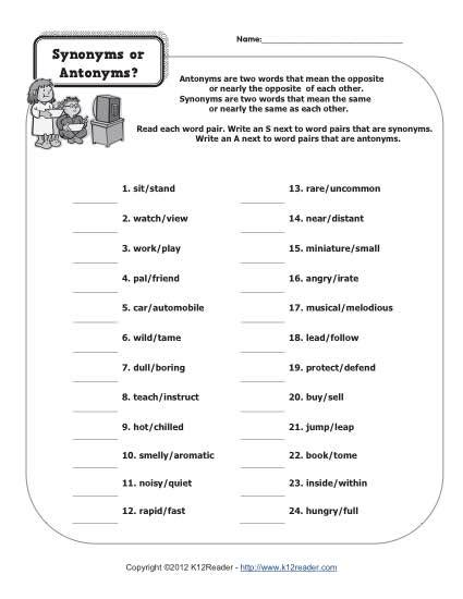 synonym worksheets for 4th grade synonyms or antonyms 4th grade synonym and antonym