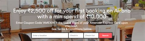 Book for the first time on airbnb and save 15% on a spend of rs.10,000 and above upto a maximum discount of rs.3500, when you use your visa card. Deal: INR 2500/USD 39 discount for Airbnb stays with Amex ...