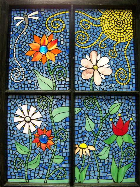 funky flowers mosaic window    window