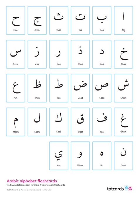 arabic alphabet flashcards  kids totcards