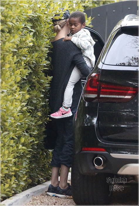 charlize theron takes  son jackson   friends house