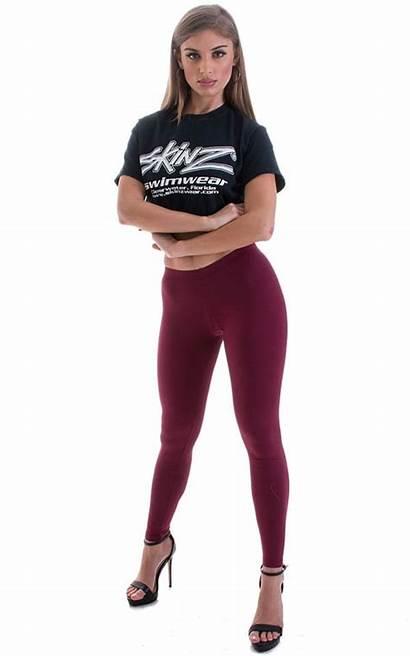 Leggings Tights Womens Low Rise Burgundy Lycra