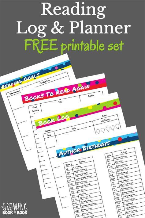 reading log planner printables  homeschool
