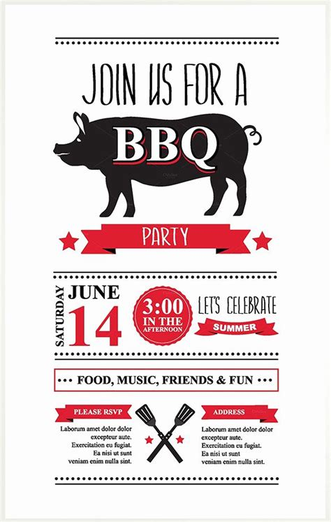 bbq invitation template word    images