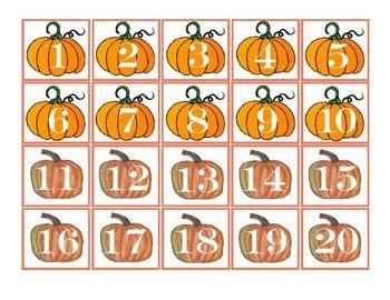 fall pumpkins pocket chart number cards   tpt