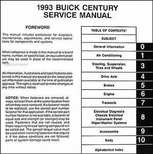 1993 Buick Century Repair Manual 93 Custom Special Ltd