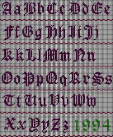 Cross Stitch Old English Letters
