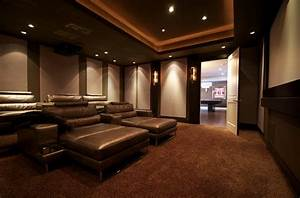 Richmond theater room modern home theater other for Kitchen colors with white cabinets with movie theater wall art