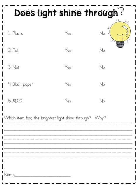here s a light experiment to determine which objects in a