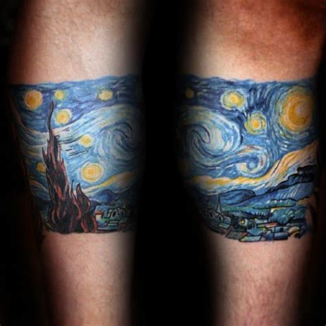 40 Starry Night Tattoo Designs For Men - Painting Ink Ideas