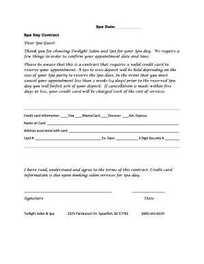 fillable spa room rental agreement template edit print