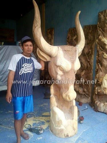 jual patung antik kepala banteng kualitas harga murah