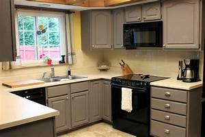 grey painted kitchen cabinets in small kitchen space With cabinets for a small kitchen