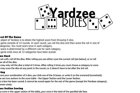 yardzee lawn game rules  scoresheet etsy