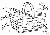Picnic Basket Coloring Drawing Blanket Food Pages Printable Drawings Template Sketch Crafts Print sketch template