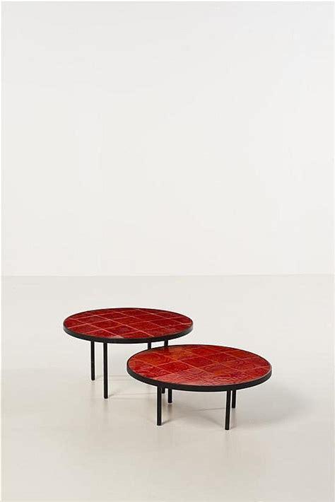 vintage ceramic table ls roger capron enameled metal and glazed ceramic low tables