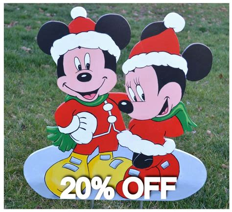 mickey mouse minnie mouse  christmas lawn stake yard