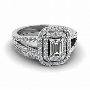 Deuced halo emerald set fascinating diamonds for Emerald cut diamond wedding ring sets