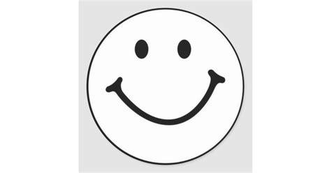 smiley weiss aufkleber runder aufkleber zazzle