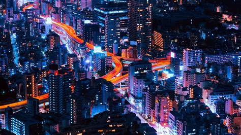 ns pastel city blue red night nature  city
