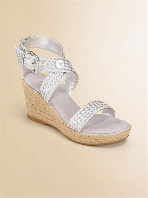 stuart weitzman girls braided wedge sandals  metallic lyst