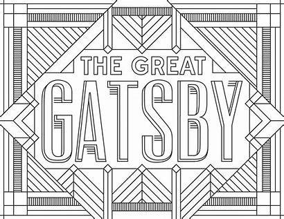 Coloring Adult Pages Gatsby Posters Books Inspired