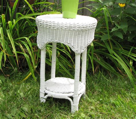 white wicker table small end table or outdoor table