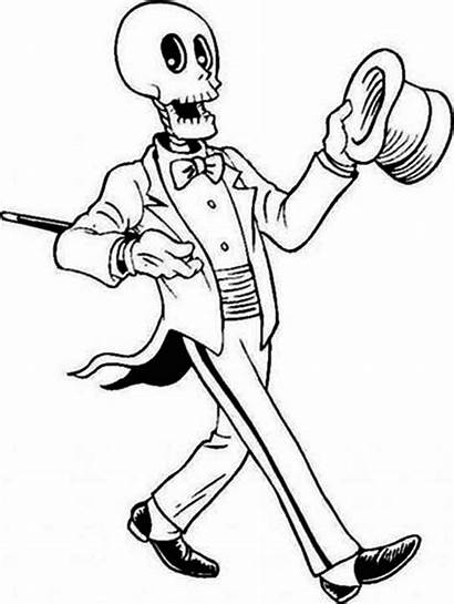 Skeleton Coloring Pages Magician Halloween Netart Colouring