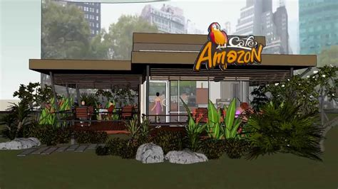 sketchup  auto cad amazon coffee cafe youtube