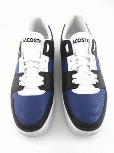 LACOSTE Sneakers Blue/White/Black Leather Shoes with Logo ...