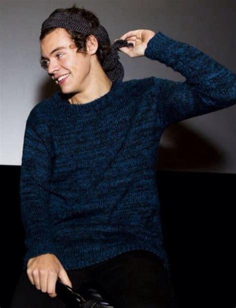 harry styles sweater sweater blue harry styles one direction bandana