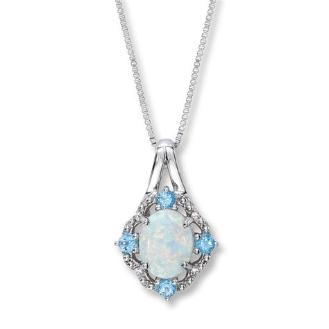 lab created opal necklace topaz  diamonds sterling