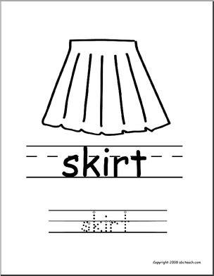 write in color coloring page write and color quot skirt quot esl abcteach