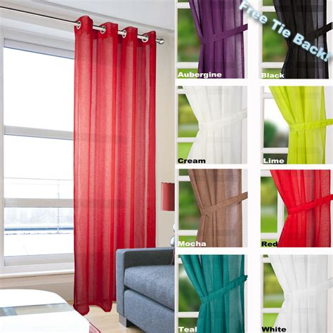 voile drapes leona linen effect eyelet ring top voile curtain panel