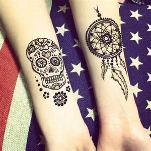 Sugar Skull and Dream Catcher Henna Tattoo # ...