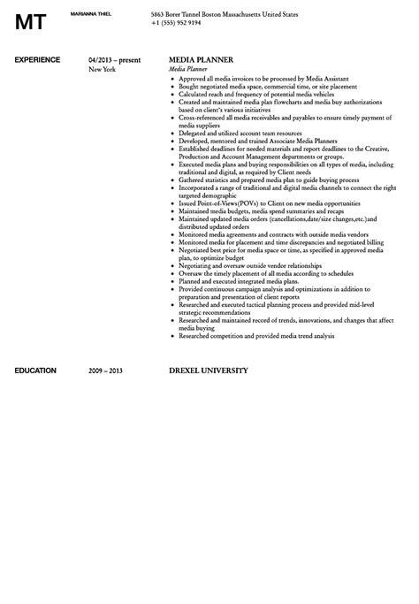 Media Planner Resume by Media Planner Resume Sle Velvet